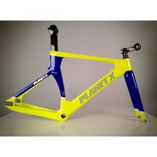 Planet X Koichi San II Aero Carbon Track Frameset / Medium / Blue And Yellow / Used - Cosmetic Damage