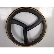 Selcof Spread Tow Time Trial / Triathlon Tri Spoke Carbon Aero Front Wheel / Vittoria Corsa SC Classic Isogrip Tubular Tyre / 23mm