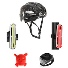 Carnac Impact Air Aero Road Helmet And Jobsworth Dogstar Lights Bundle