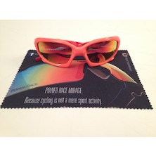 Power Race Maverick Hydrophobic Cycling Glasses / Fluo Orange And Red / Red Revo / No Box Or Spare Lenses