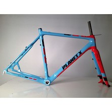 Planet X Pro Carbon XLS Cyclo Cross Frameset / 57cm / Sky / Red / Routing Issue