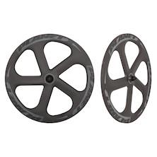 Planet X Five Spoke Carbon Aero Ceramic Bearing Track Front Wheel / 700c / Matt Black and Grey / Tubular